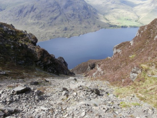 The view towards Wastwater from the crash site of Piper Cherokee G-AZYP on Illgill Head near Wasdale Head in the Lake District