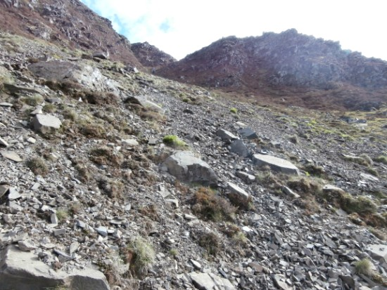 A view of the crash site of Piper Cherokee G-AZYP on Illgill Head near Wasdale Head in the Lake District