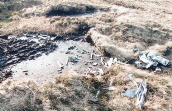 "Crash site of Wellington HE466"" alt=""Wreckage at the crash site of Vickers Wellington HE466 on Foel Grach in the Carneddau area of Snowdonia"