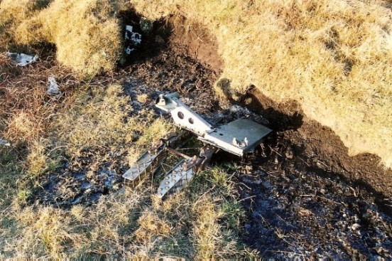 Wreckage at the crash site of Airspeed Oxford Mk.I HN429 on Axe Edge near Buxton