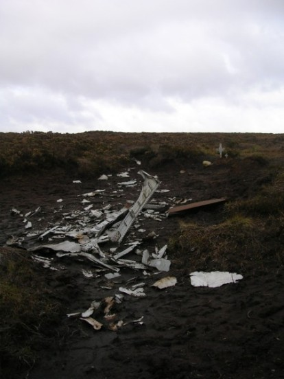 Wreckage at the Crash site of Handley Page Halifax Mk.II HR727 on Blackden Edge, Kinder, Edale