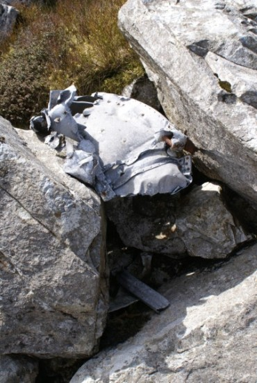 Wreckage at the crash site of Vickers Wellington Mk.IC HX433 on Mynydd Moel, Dolgellau