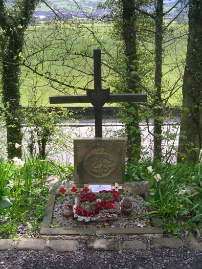 Memorial at the crash site of Vickers Wellington Mk.XI HZ251 beside the Leeds Liverpool Canal at Low Bradley, Skipton, North Yorkshire