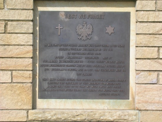 Memorial plaque near the crash site of Vickers Wellington HZ251 at Low Bradley, Skipton, North Yorkshire