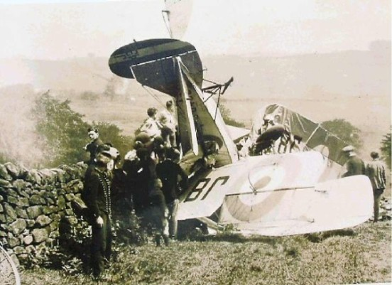 Crash site of Bristol Fighter J8432 on Matlock Moor, Derbyshire the day the aircraft crashed