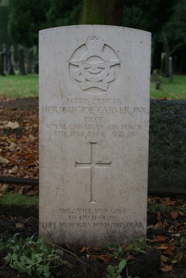 Grave of Flying Officer Herman Joe Carver, killed in JM223