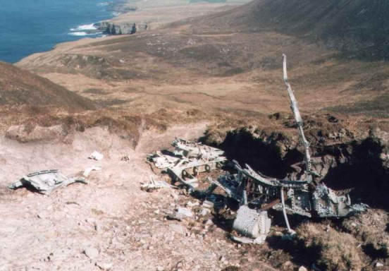 The port wing root at the crash site of Vought Corsair JT461 at Enegars, Isle of Hoy