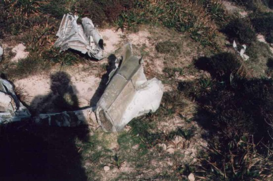 Section of rear fuselage near the crash site of Vought Corsair JT461 at Enegars, Isle of Hoy