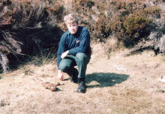 Alan at the crash site of Ju88 4D+EK at the mouth of Pegal Burn, Isle of Hoy