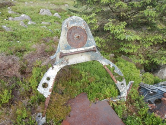 Armoured bulkhead at the crash site of Grumman Wildcat JV404 on Bennan, Newton Stewart, Dumfries & Galloway