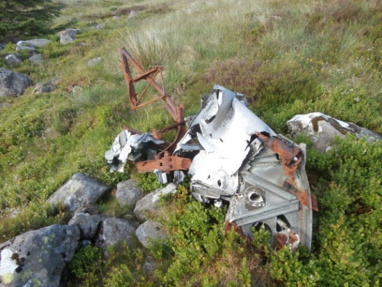 Wreckage at the crash site of Grumman Wildcat JV404 on Bennan, Glen Trool, Dumfries & Galloway