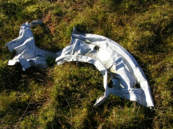 Largest piece of wreckage at the crash site of Grumman Wildcat JV499 on Blackside, Sorn, Ayrshire