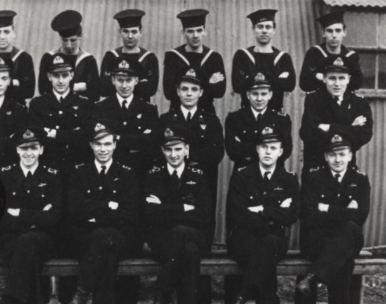 Crew of Grumman Avenger JZ390, Lieutenant Bernard John Kennedy (front row, centre), Midshipman Gordon Fell (second row, centre), Leading Airman Phillip Royston Mallorie (back row, centre)