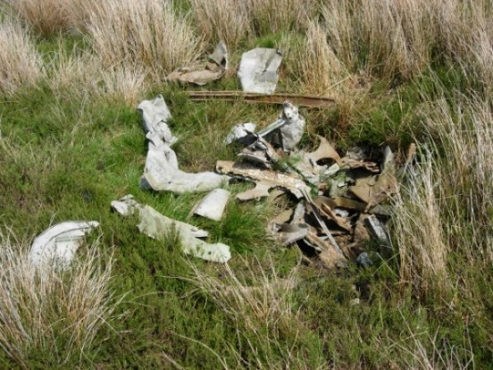Wreckage at the crash site of Bristol Blenheim K7076 on Arnagill Moor, Pateley Bridge, Yorkshire