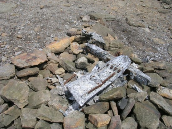 Small amount of wreckage at the crash site of Avro Lancaster KB993 on James Thorn, Bleaklow, Derbyshire