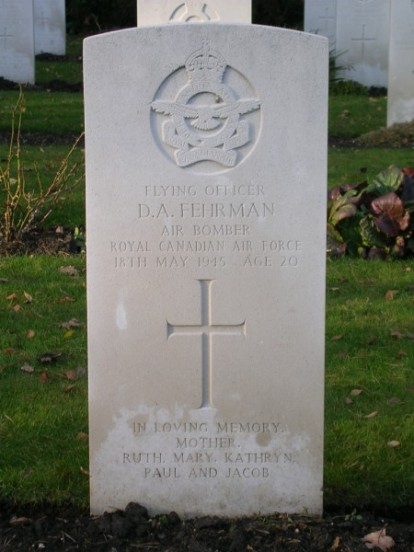 Headstone of Flying Officer David Fehrman at Brookwood Military Cemetery, bomb aimer from KB993