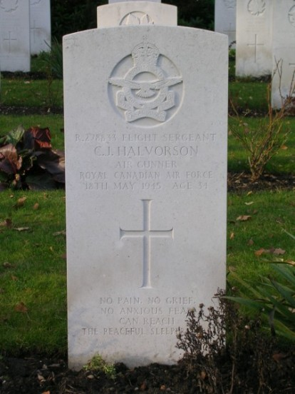 Flight Sergeant Clarence Halvorson at Brookwood Military Cemetery, air gunner on KB993