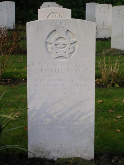 Flight Sergeant Leslie Claude Hellekson at Brookwood Military Cemetery, air gunner on KB993