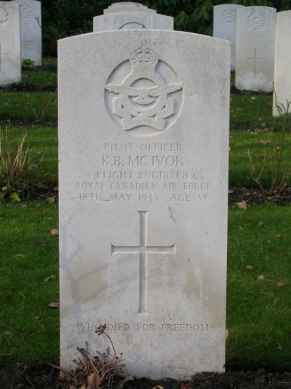 Pilot Officer Kenneth McIvor at Brookwood Military Cemetery, flight engineer from KB993