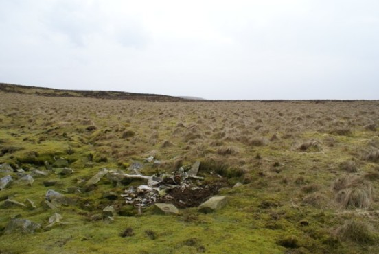 Wreckage at the crash site of Douglas Dakota KG502 on Cold Fell, Castle Carrock, Cumbria