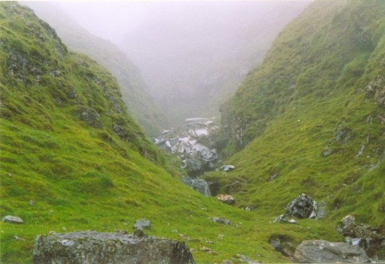 Ravine below the crash site of Douglas Dakota KK194 on Ben Talaidh where most of the wreckage was dumped