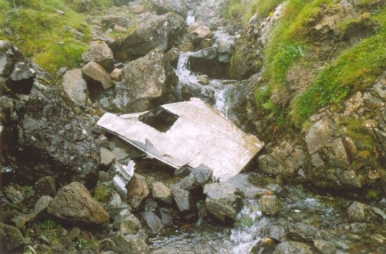 Wreckage from the fuselage of Douglas Dakota KK194 on Ben Talaidh, Isle of Mull