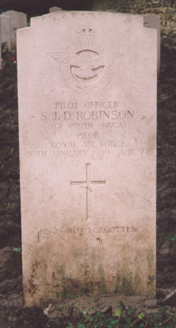 Grave of Pilot Officer Stanley John Daly Robinson at Church Fenton, Yorkshire