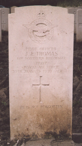 Grave of Acting Pilot Officer Jack Elliott Thomas at Church Fenton, Yorkshire