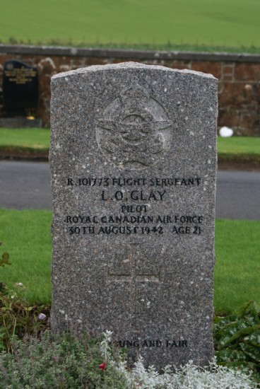 Grave of Flight Sergeant Louis Orlin Glay at Dunure Cemetery, Ayrshire