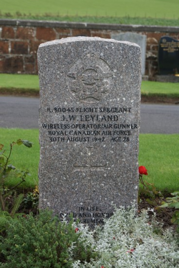 Grave of Flight Sergeant John William Leyland at Dunure Cemetery, Ayrshire