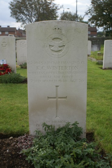 Grave of Aircraftman 2nd Class Kenneth Charles Winterton at Shawbury (St Mary) Churchyard, Shropshire