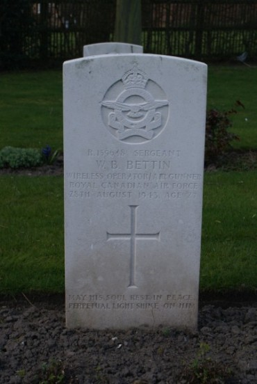 Grave of Sergeant Wendelin Bernard Bettin, RCAF, at Chester Blacon Cemetery