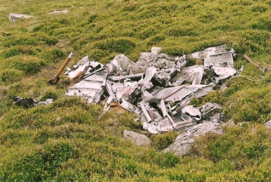 Wreckage at the crash site of Blackburn Botah L6202 on Llwytmor, Snowdonia