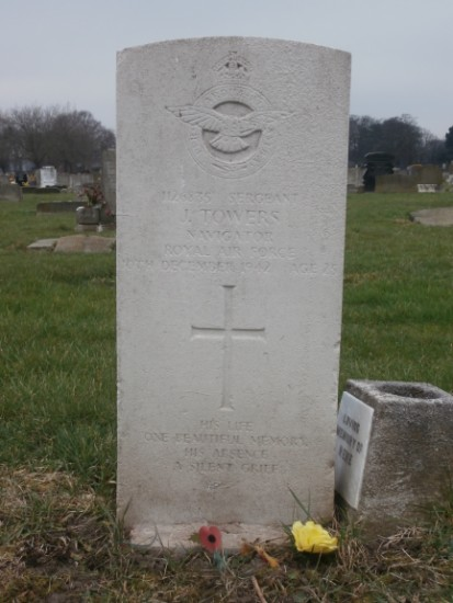 Grave of Sergeant Joseph Towers, Navigator, at Liverpool Anfield Cemetery