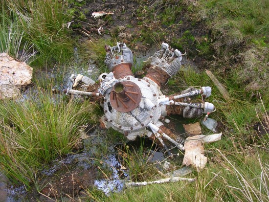 Armstrong Siddeley Cheetah engine at the crash site of Avro Anson L7949 on Lairdside Hill near Lochwinnoch