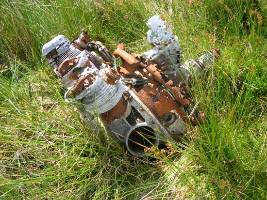 Armstrong Siddeley Cheetah engine near the crash site of Avro Anson L7949 on Lairdside Hill near Lochwinnoch