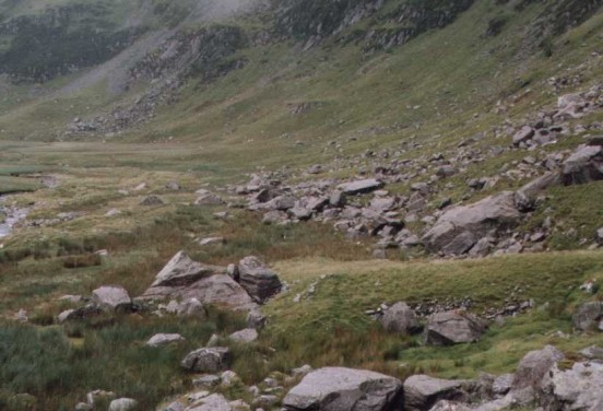 Lower reaches of the crash site at the foot of Craig yr Ysfa