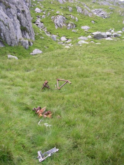 Wreckage at the crash site of Bristol Blenheim Mk.IV L9039 on Craig yr Ysfa