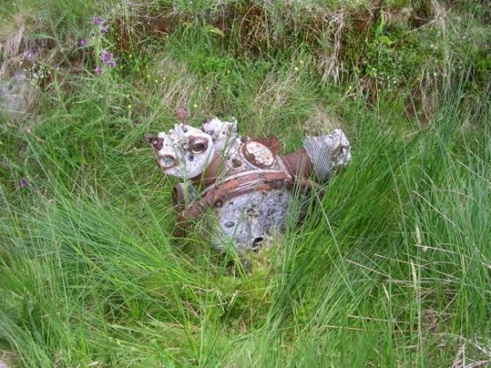 Armstrong Siddeley Cheetah engine at the crash site of Avro Anson Mk.I L9153 on Corserine, Rhinns of Kells