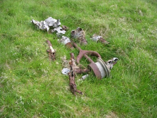 Wreckage at the crash site of Avro Anson Mk.I L9153 on Corserine, Rhinns of Kells