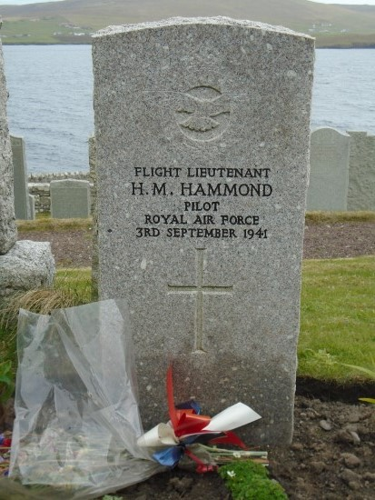 Grave of Flight Lieutenant Howard Moule Hammond at Lerwick New Cemetery, pilot of Bristol Blenheim Mk.IV L9261 which crashed at Sandness, Shetland