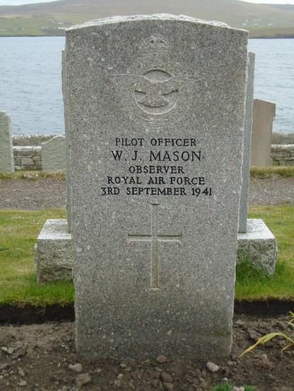 Grave of Pilot Officer William James Mason at Lerwick New Cemetery, navigator of Bristol Blenheim Mk.IV L9261 which crashed at Sandness, Shetland