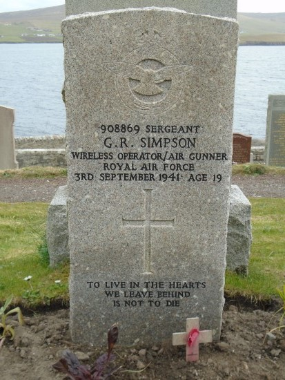 Grave of Sergeant George Richard Simpson at Lerwick New Cemetery, wireless operator of Bristol Blenheim Mk.IV L9261 which crashed at Sandness, Shetland