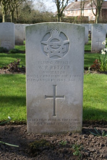 Grave of Flying Officer Walter Paul Retzer at Chester Blacon Cemetery