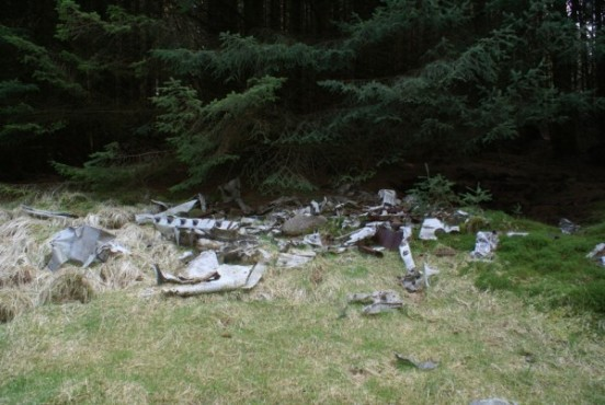 Crash site of Hawker Hurricane Mk.IV LD594 in the forest near Loch Doon
