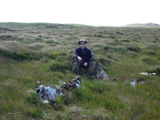 Alan at the crash site of Hurricane LF160 at Arinagour, Isle of Coll