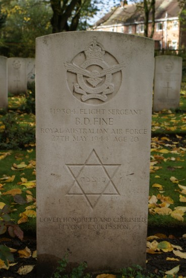 Grave of Flight Sergeant Bernard Fine at Chester Blacon Cemetery