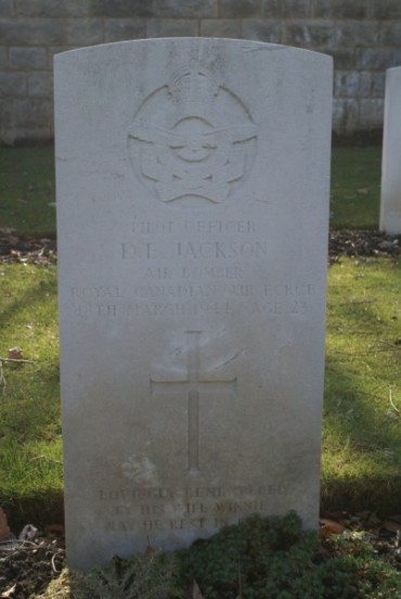 Grave at Harrogate (Stonefall) Cemetery of Pilot Officer Donald E. Jackson, Bomb Aimer of Halifax LL178