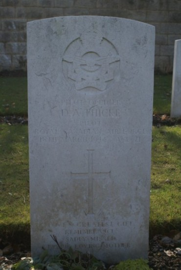 Grave at Harrogate (Stonefall) Cemetery of Pilot Officer Douglas A. Thicke, Co-pilot of Halifax LL178