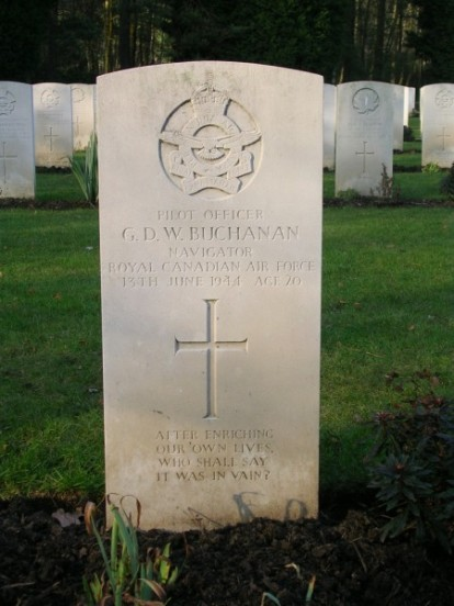 Grave of Pilot Officer George David Wills Buchanan at Brookwood Military Cemetery